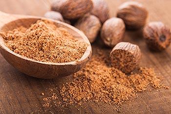 bowl of ground nutmeg